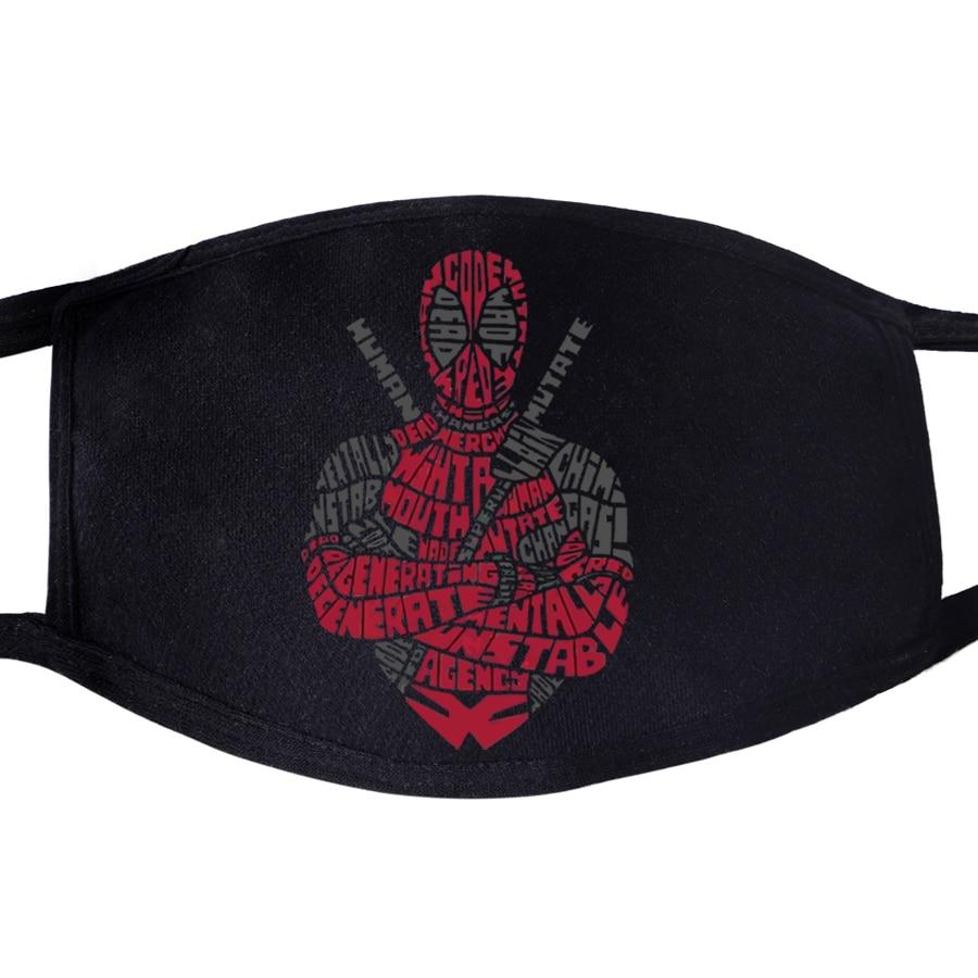Deadpool Funny Superhero Face Mask Mouth Fabric Anti Dust Unisex Black Muffle Dustproof Facial  Cover Dead Pool Masks