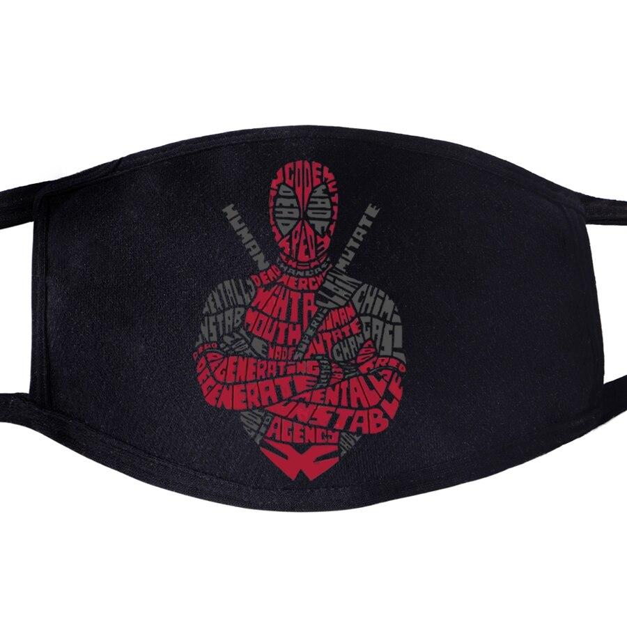 Deadpool Funny Superhero Face Mask Mouth Fabric Anti Dust Unisex Black Muffle Dustproof Facial Protective Cover Dead Pool Masks