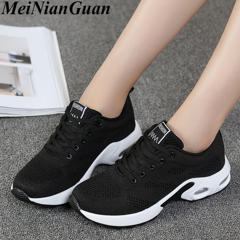 Fly Weaving Sneakers Women Sport Shoes Air Cushion Running Shoes For Women Lace Up Jogging Shoes Black Women's Sports Shoes B9