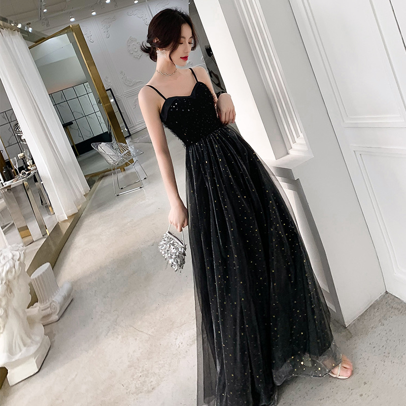 KAUNISSINA Floor Length Evening Dress Black Party Gown Sleeveless Strap Sequins Celebrity Graduation Party Prom Dresses