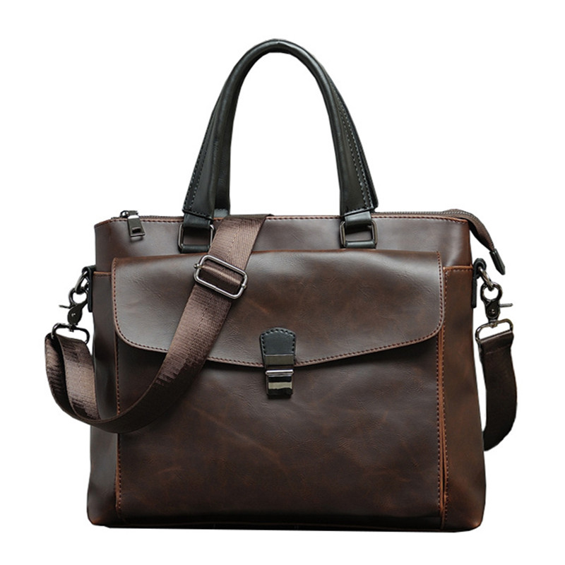 Vintage Men's Briefcase Brand PU Leather Handbag Male Large Solid Shoulder Bag Business Office Laptop Bags Casual Man Tote Brown