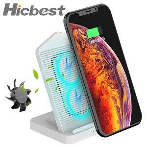 Image 1 - 10W wentylator chłodzący bezprzewodowa ładowarka dla iPhone ładowania bezprzewodowego ładowarka indukcyjna dla iPhone X X XS 8 Plus Samsung S8 s9 S7