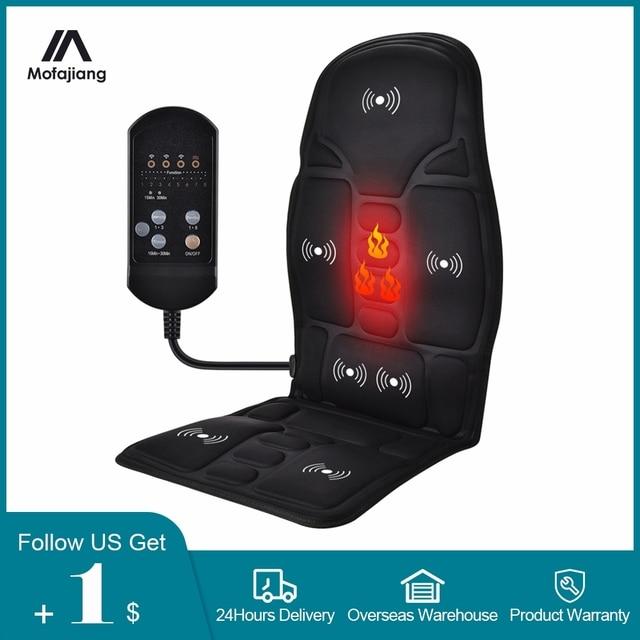 Electric Heating Full Body Massage Car Chair Office Massage Lumbar Neck Pain Relief 7pcs Powerful Motors Vibration Stimulating 1