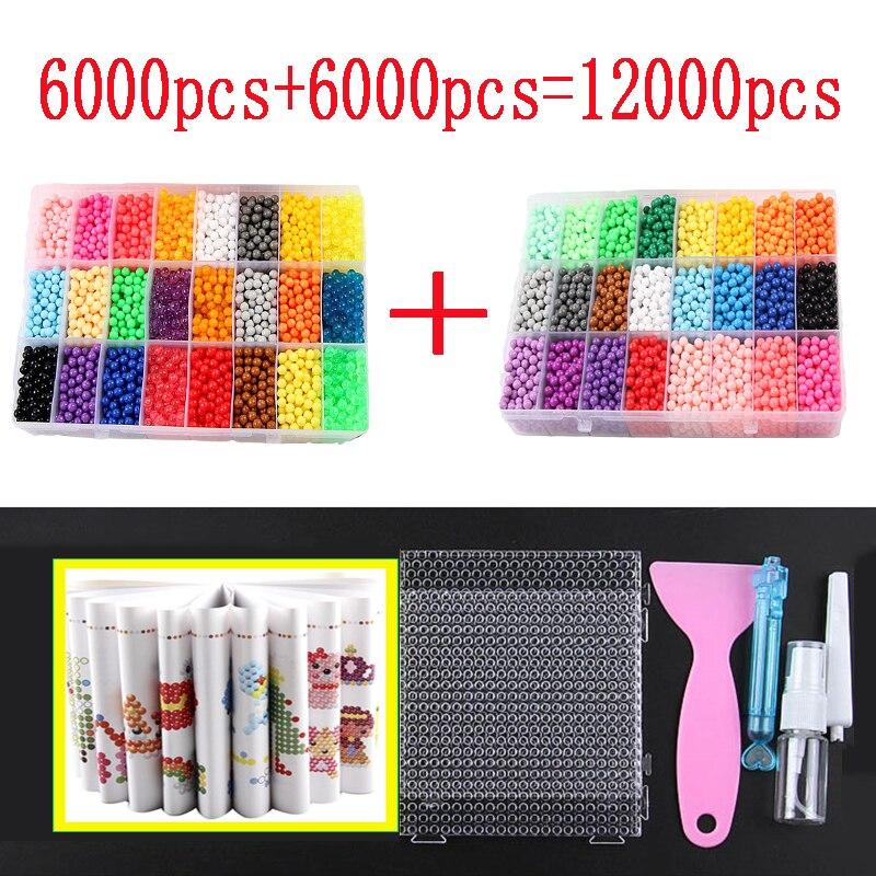 12000 Uds. Juego de 30 colores de cuentas de repuesto para puzle de cristal DIY, juego de bolas de espray 3D, juguetes mágicos hechos a mano para niños