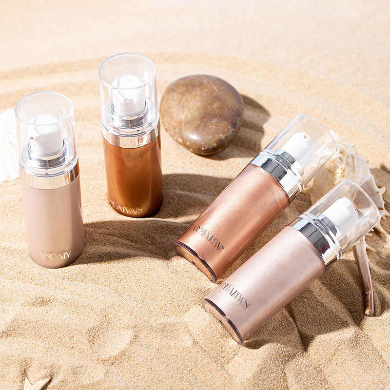 Shimmer Tubuh Luminizer Bronzer Highlighter Cair Setting Spray Mencerahkan Sorot Makeup ZG88