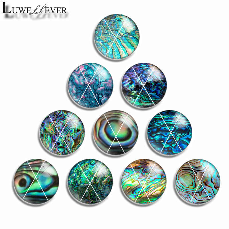 12mm 10mm 14mm 16mm 20mm 25mm 460 10pcs/lot Paua Mix Round Glass Cabochon Jewelry Finding 18mm Snap Button Charm Bracelet