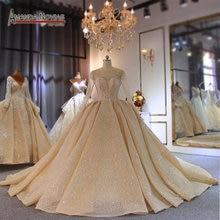 الشمبانيا اللون طويل قطار فستان الزفاف ثوب زفاف الزفاف فستان زفاف