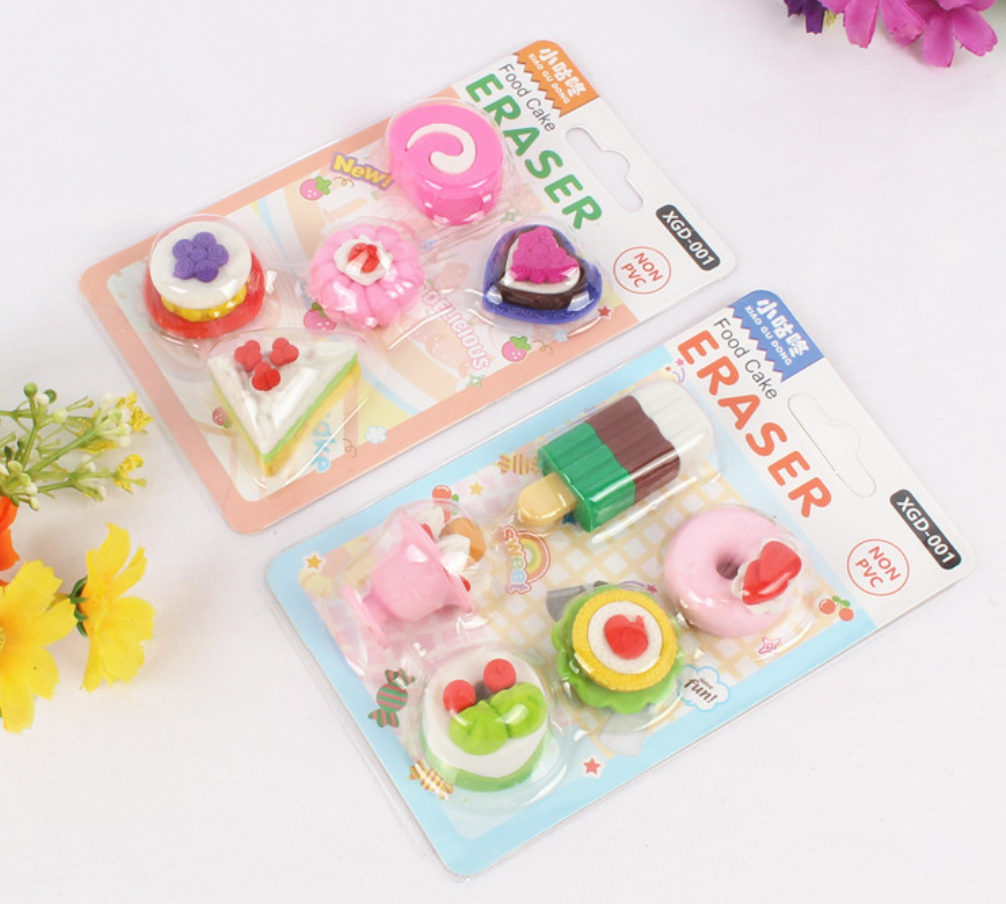 5pcs Cute Kawaii Dessert Food Cake Doughnut Ice Cream Biscuit Pencil Erasers Set School Office Supplies Rubber Eraser Gift Kids