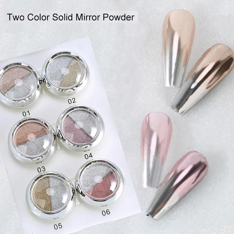 Двойной цвет твердый зеркальный ногтевой порошок Набор Розовое золото Шампань металлический лак для ногтей Блестящий Хром Декор пыль пигм...