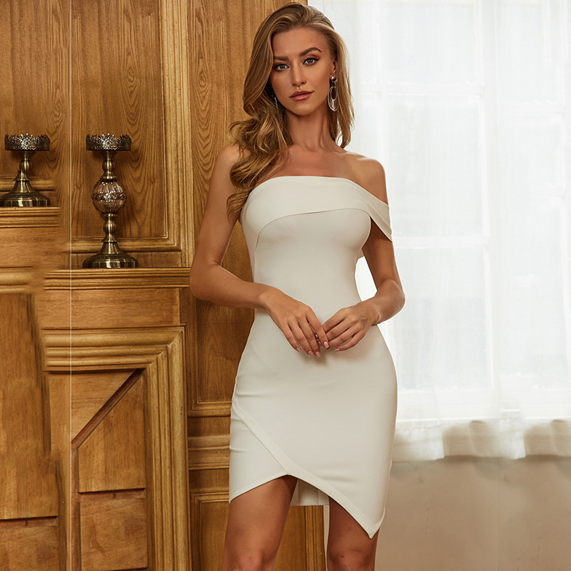 Love Aing 2020 New Selling Solid Color Irregular One Shoulder Split Sexy Slim Bandage Dress Tight Mini Club Party Dresses image