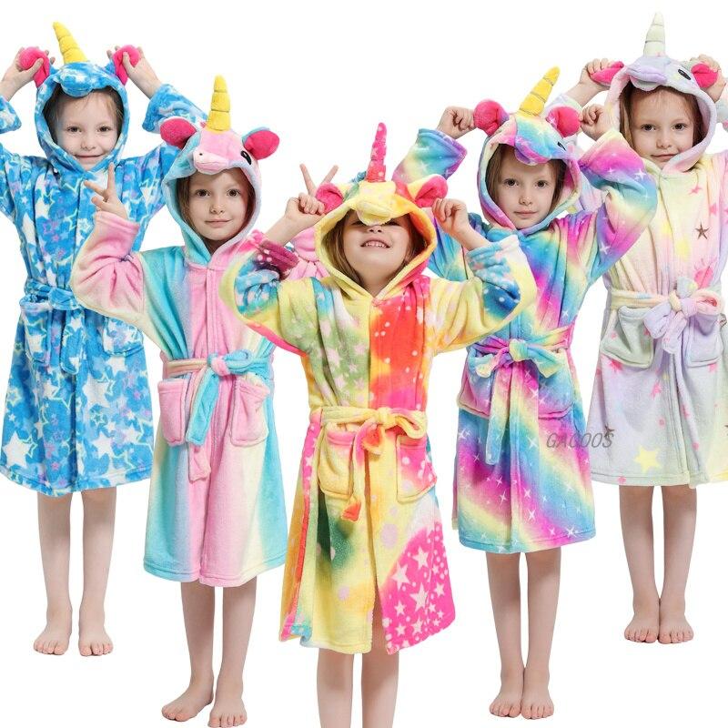 2020 Kigurumi Robes Kids Unicorn Pajamas For Girls Bathrobes Animal Cartoon Nightgown Baby Winter Boys Girls Licorne Sleep Robes