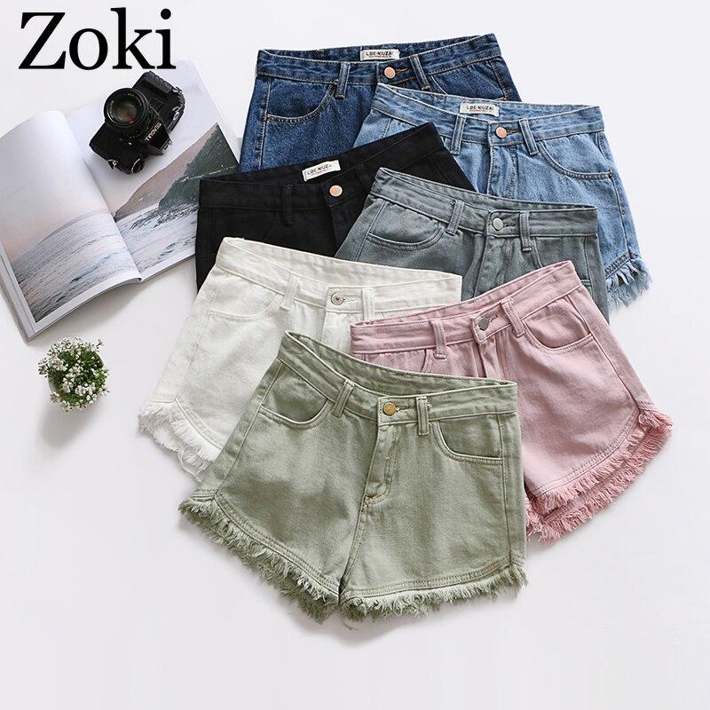 Zoki Sexy Tassel Women Denim Shorts Fashion Summer Slim Korean Chic Girl Ankle-Length Pants Black Jeans Washed Street Wear 2020