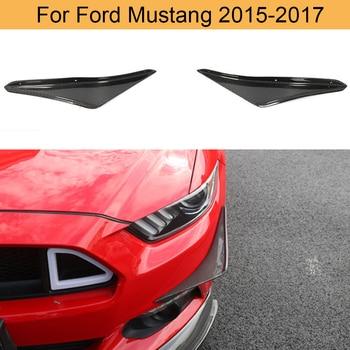 Front Bumper Fins Vents Fender For Ford Mustang 2015-2017 Carbon Fiber / Black FRP Front Blades Fins