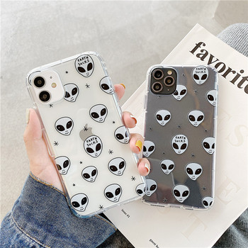 Fashion E.T. Alien Head Phone Case for iPhone 12 mini 11 Pro Max X 7 8 Plus XR XS Max SE 2020 Cover Cute Transparent Soft Cases image