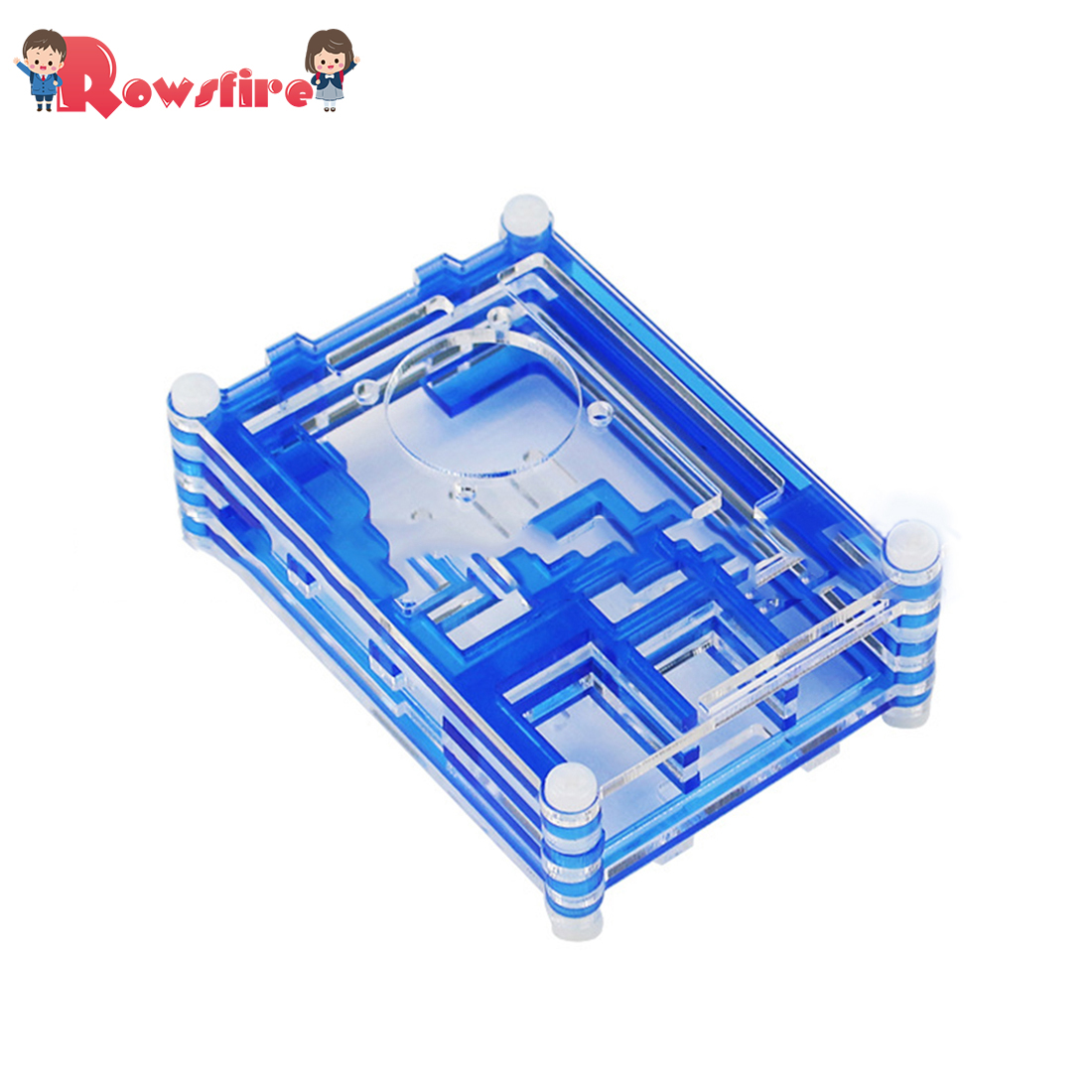 9 Layers Acrylic Shell Protective Cover With Fan For Raspberry Pi 3B+/3B/2B - Blue