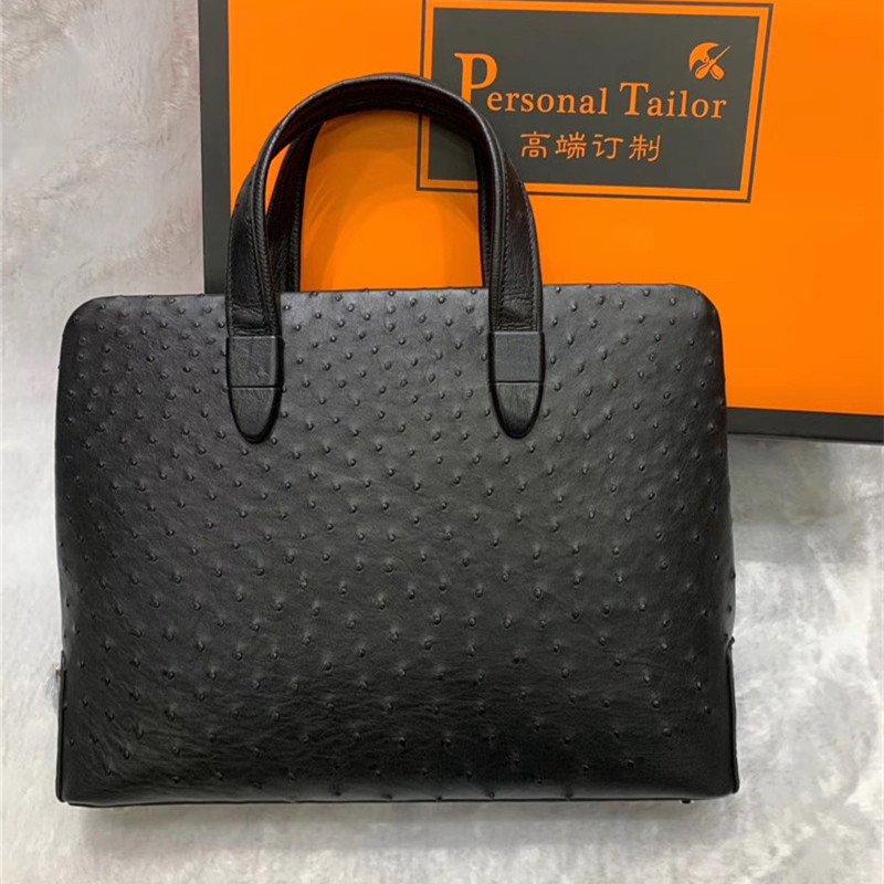 Genuine Real Ostrich Skin Passcode Closure Businessmen Briefcase Handbag Exotic Leather Male Large Top-handle Working Purse