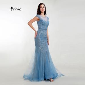 Image 5 - Akşam elbise zarif Mermaid 2020 gölgeli mavi Sparkly malzeme O boyun kap kollu tam boncuklu resmi kadın elbise Finove