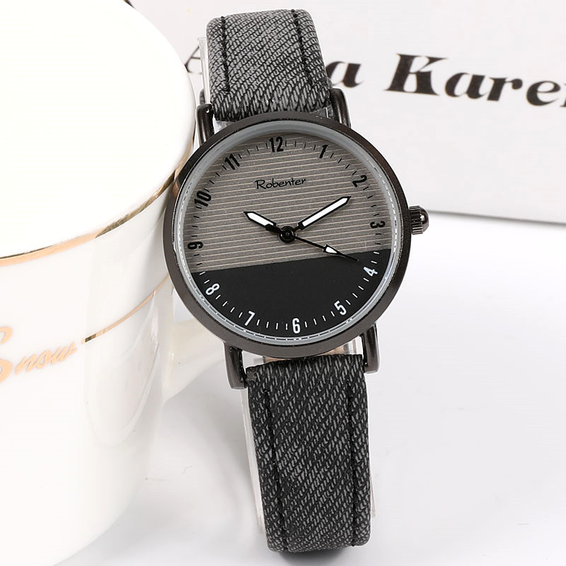 New Style Black Cool Women's Watch For Women Top Brand Simple Retro Men's Leather Wristwatch Fashion Lovers Watches Female Clock