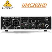 BEHRINGER-Amplificador de micrófono UMC22/ UM2/UMC202HD, grabación en vivo, tarjeta de sonido externa, interfaz de Audio USB