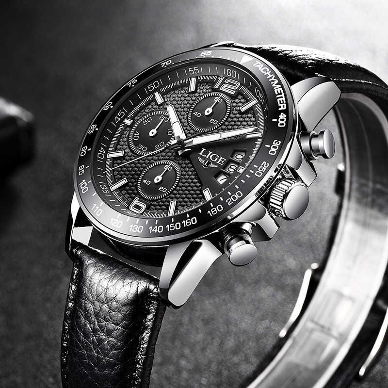 LIGE Mens Saatler Üst Marka Lüks Rahat Moda Spor İzle Erkekler Deri Su Geçirmez Saat Kuvars saatler Relogio Masculino