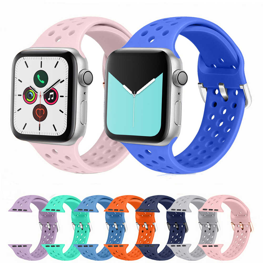 Sport silicone for apple watch band 4 44mm 40mm (iwatch 5) applewatch strap 3 2 1 42mm 38mm Fashion bracelet Accessories