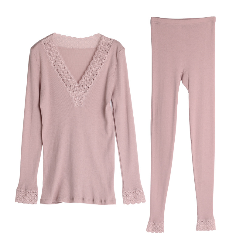 New Women Warm Real 82%Wool 18%Silk V neck Thermal Suit Underwear Sets SI0003