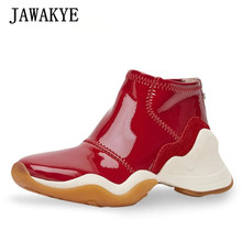 Sneakers Women Trainers-Shoes Runway High-Top Flat White Platform Black Patent JAWAKYE