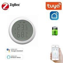 ZigBee Smart Temperature Humidity Sensor Tuya Smart Life APP Battery Powered automation security alarm Support Alexa Assistant