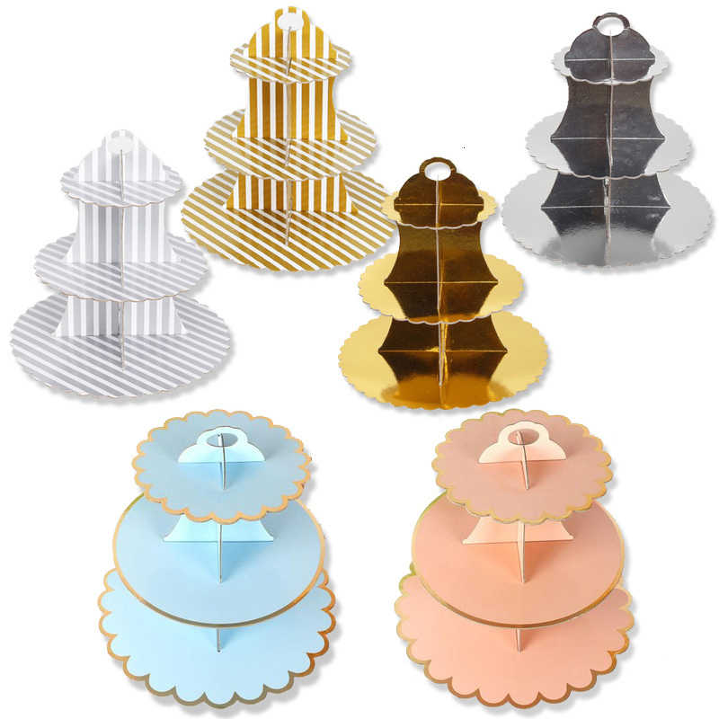 3-Layer Round Cardboard Cupcake Tree Stand Foldable Display Baby Showers Birthday Wedding Party Special Event Decor Supplies