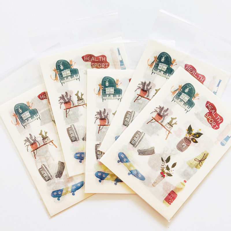 6 Sheets /Pack Petty Bourgeoisie Life Washi Paper Sticker Notebook Computer Phone DIY Decoration
