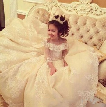Off The Shoulder Long Sleeves Lace A Line Flower Girl's Dress Lace Applique Layered Ruffles Floor Length Girl's Pageant Dresse lace applique lantern sleeve cold shoulder top