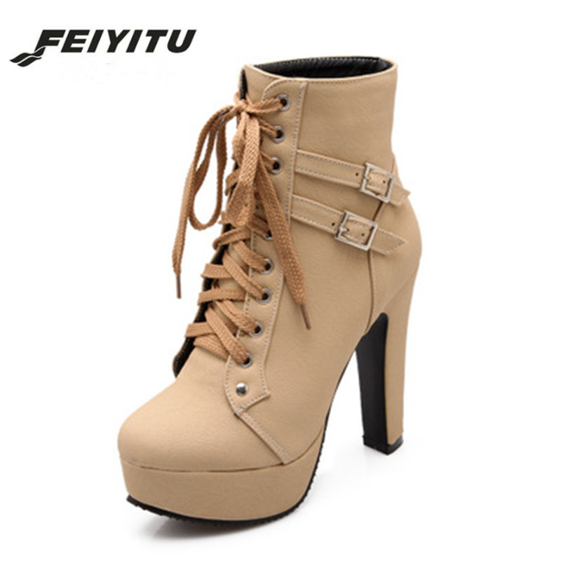 feiyitu 2018 <font><b>Sexy</b></font> <font><b>Extreme</b></font> <font><b>High</b></font> <font><b>Heels</b></font> Black Women Platform Motorcycle Ankle <font><b>Boots</b></font> Lace Up Rivets Punk <font><b>Boots</b></font> Buckle Straps Ladies image