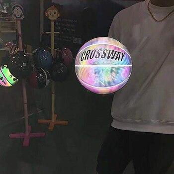 Luminous Basketball Sport Synthetische Gericht Personalisierte zement boden Holographische Basketball Geburtstag Präsentieren Glowing Basketball