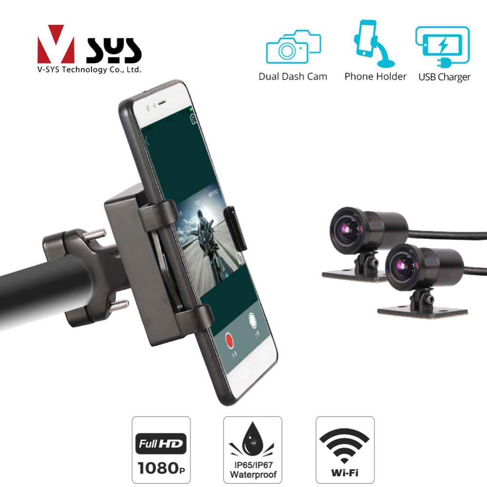 SYS VSYS P4F WiFi Dual 1080P Motorcycle Camera Mount Bracket <font><b>DVR</b></font> Dash <font><b>Cam</b></font> Waterproof + Phone Holder with <font><b>USB</b></font> Charger SONY IMX323 image