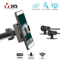 SYS VSYS P4F WiFi Dual 1080P Motorcycle Camera Mount Bracket DVR Dash Cam Waterproof + Phone Holder with USB Charger SONY IMX323