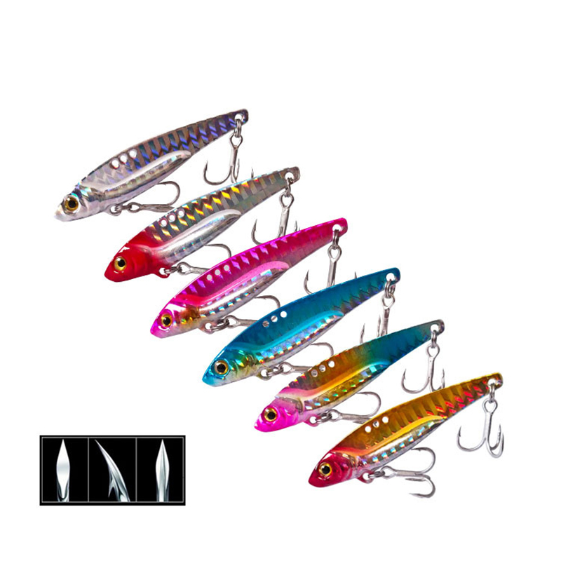 6Colors 3D Eyes Metal Vib Blade Lure 5/7.5/13/16/20G Sinking Vibration Baits Artificial Vibe For Bass Pike Perch Fishing