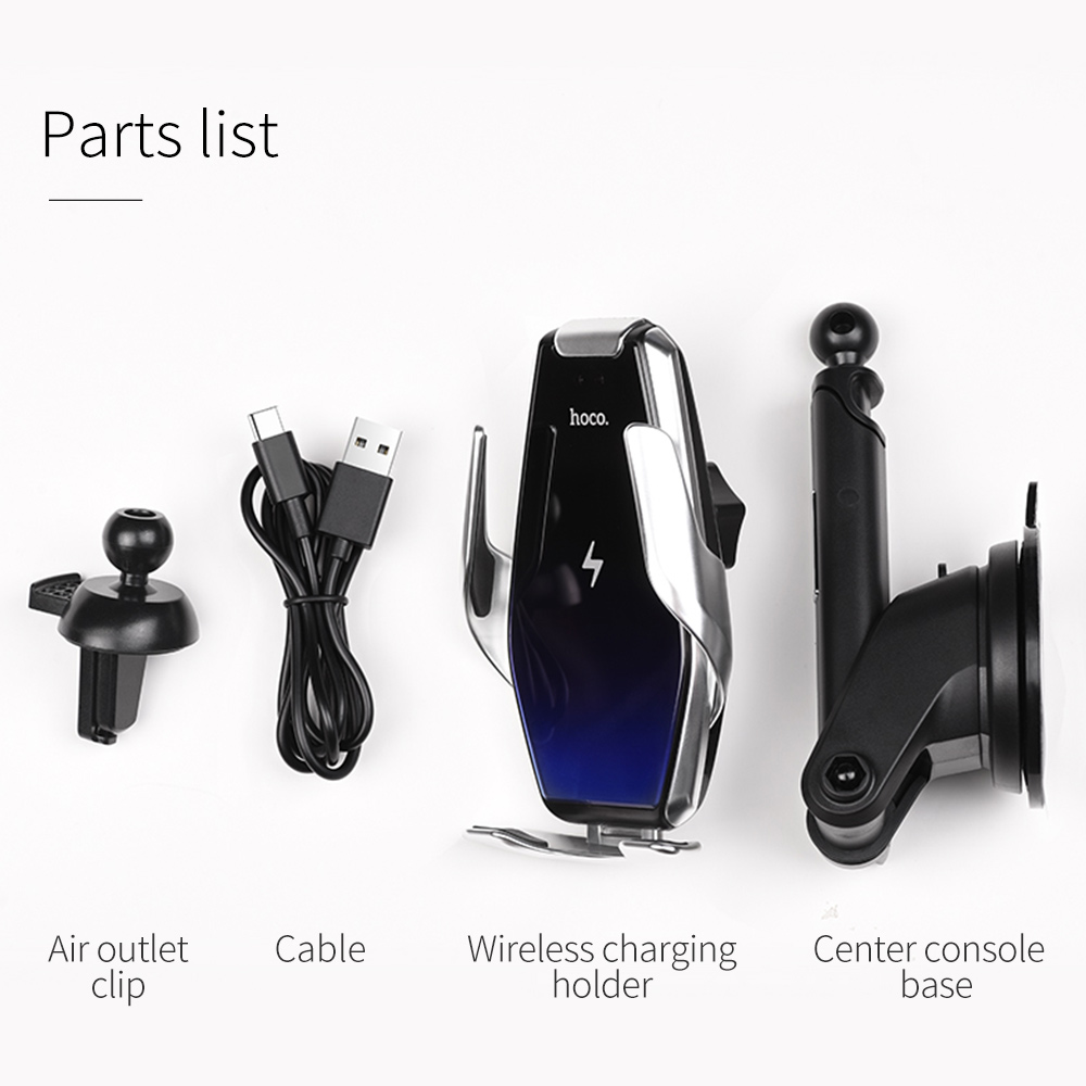 HOCO Qi Wireless Car Charger Automatic Infrared Clip Air Vent Mount Car Phone Holder Glass Surface