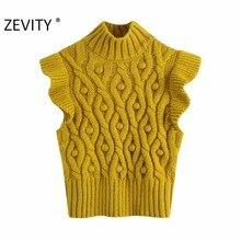 Zevity yeni kadın moda topu aplikler büküm örgü kazak bayan Agaric dantel kolsuz rahat ince yelek kazaklar Tops S420