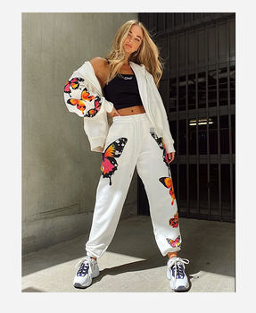 2 Pieces Sport Suit Set for Women Butterfly Printed Female Clothes Zipper Up Hoodies Coats Pants White Black Street Wear image