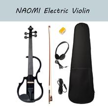 NAOMI 4/4 Black Electric Violin Kit Full Size Electronic Violin w/Brazilwood Bow Rosin Headphone Audio Cable Case Student Violin