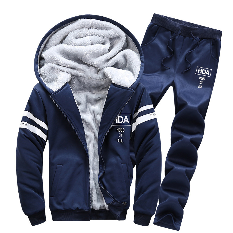 Winter Plus Velvet Hoodie Suit Men's Thick Jia Lian Cap Casual Coat MEN'S Sport Suit Men's