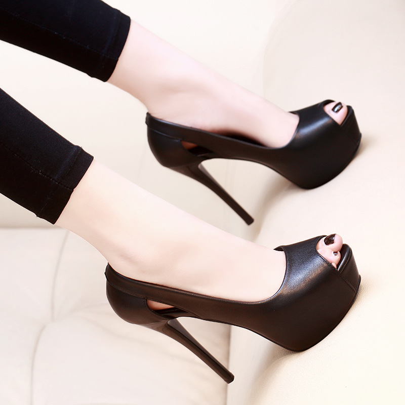 Mulheres bombas de verão sapatos de couro do plutônio plataforma peep toe deslizamento-on 14cm saltos finos rasa sólida clube sexy senhora festa sapatos femininos