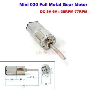 Micro Motor de engranaje Mini 030 de velocidad lenta de DC 3V-12V 38RPM-150RPM Micro caja de engranajes de Metal completa 21MM Eje largo coche Robot DIY
