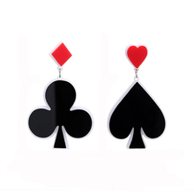 NJ Cool Poker Black Heart Chic Drop Earrings For Woman New Fashion Young Ladies Party Prom Best Friend Gift Jewelry