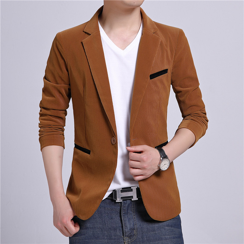 Corduroy Suit Young And Middle-aged MEN'S Casual Jacket Slim Fit Small Suit Men's Spring And Autumn One-Piece On Clothes