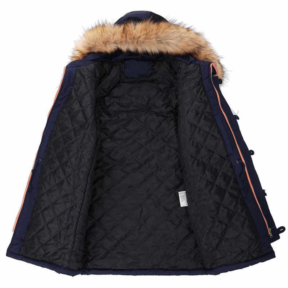 Nuevas Parkas largas y gruesas de invierno para hombre, abrigos con Cuello de piel con capucha, abrigos informales para hombre, chaquetas militares, chaquetas con capucha para hombre, chaqueta