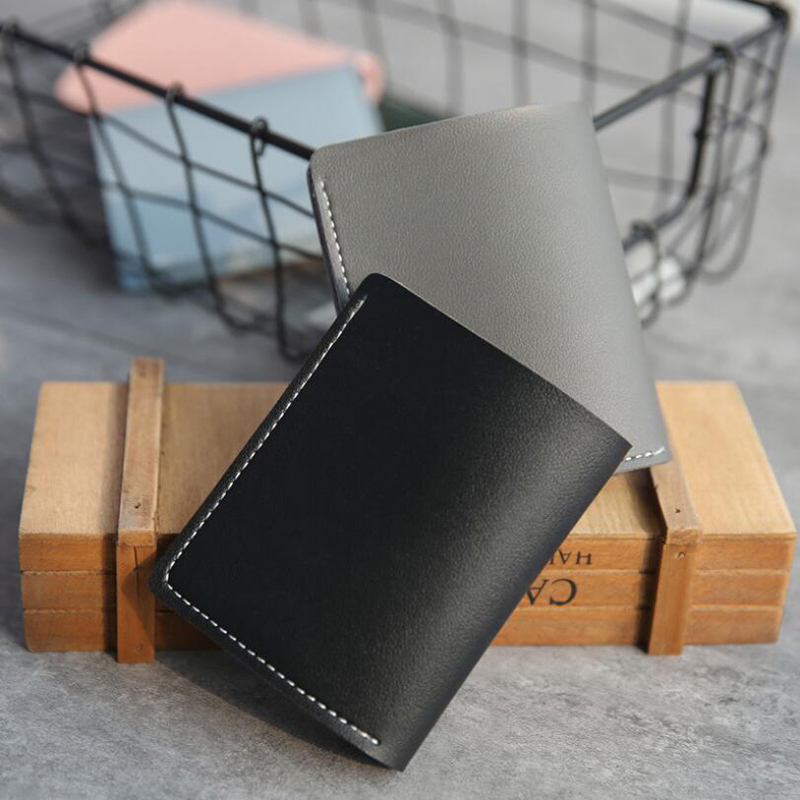 Casual Men's Wallets Leather Solid Luxury Wallet Pu Leather Slim Bifold Short Purses Credit Card Holder Business Female Purse
