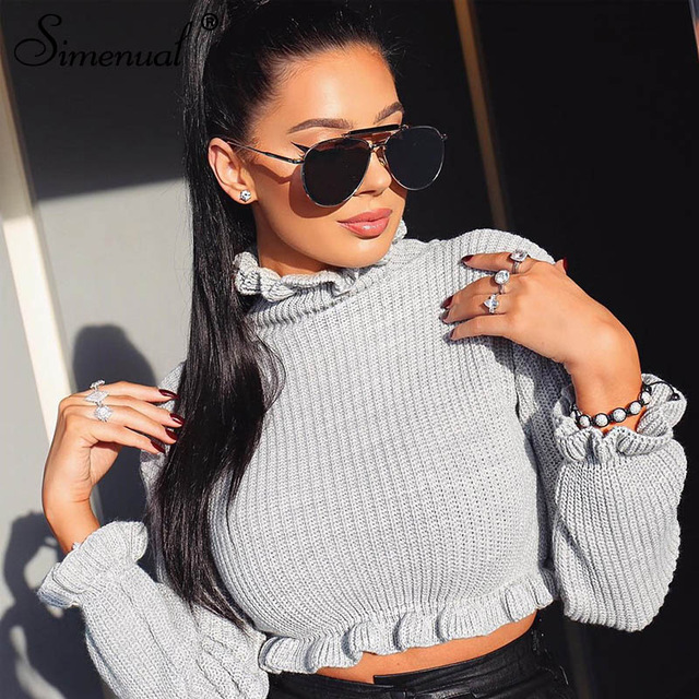 Simenual Turtleneck Ruffles Knitted Sweaters Women Fashion Long Sleeve Pullovers Casual Autumn Cropped Jumper 2019 Solid Sweater
