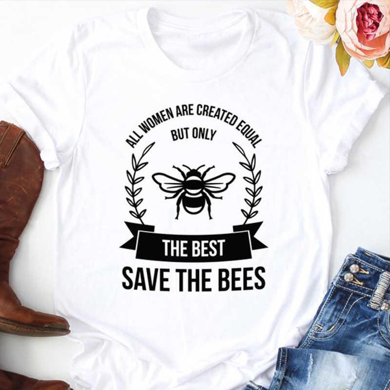 Лучшая футболка Save The Bees Harajuku женская уличная футболка с изображением девушки Kawaii модная футболка топы с круглым вырезом Прямая доставка