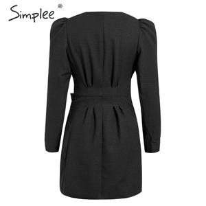 Image 3 - Simplee Sreetwear V hals Blazer Jurk Elegante Bladerdeeg Mouw Boog Korte Party Dress Office Dames Chic Solid Black Herfst Werk Jurk